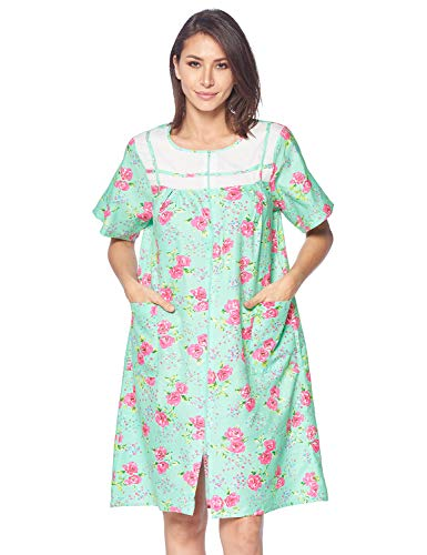 Casual Nights Women's Zipper Front House Dress Short Sleeves Duster Lounger Housecoat Robe, Floral Green, 3X-Large