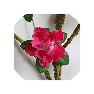 Sharing lives Artificial Flowers Home Soft Pack Ten Azalea Simulation Silk Fake Flower Gardenia Flower Foam Flower Branch Decoration Classical Soft Random,Rose Red