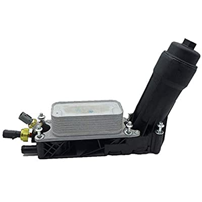 5184294AE, Engine Oil Filter Adapter for 2011-2013 Dodge Challenger Chrysler Jeep Wrangler 3.6L V6, Engine Oil Filter Adapter Housing Oil Cooler Assembly, With Sensors: Automotive