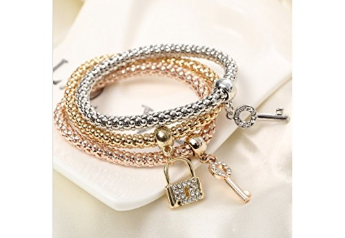 Global Huntress Crystal Beaded Tri-Tone Stretch Rope Bracelet Set in Gold Tone, Rose Gold & Silver