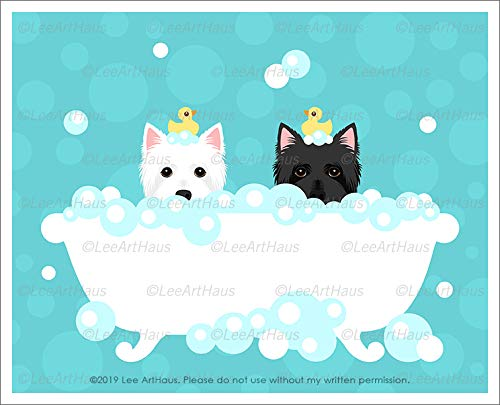 746D - Westie West Highland White Terrier and Black Cairn Terrier Dogs in Bubble Bath Bathtub UNFRAMED Wall Art Print by Lee ArtHaus ()