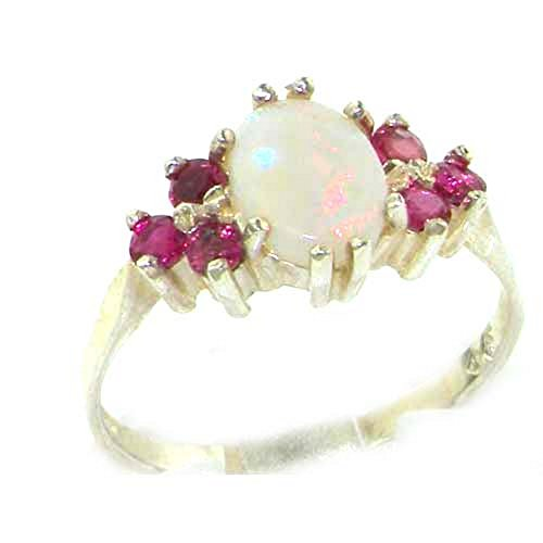 Ladies Contemporary Solid 14ct White Gold Natural Opal & Ruby Ring - Size O...