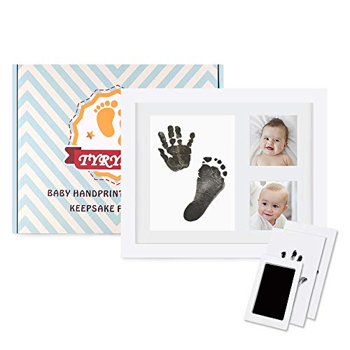 (TYRY.HU Baby Handprint Kit Footprint Keepsake Photo Frame with Ink Pad for Newborn Boys and Girls, Photo Album for Baby Shower Registry, Personalized Baby Gifts)