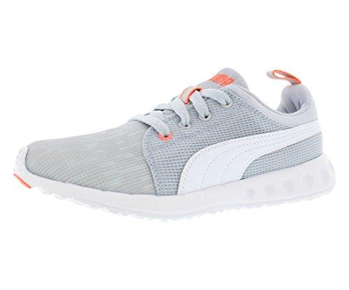 PUMA Women's Carson Runner Glitch 2 Fashion Sneaker, Gray Dawn/White/Fluro Peach, 7 B US