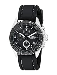 Fossil Men's silicon Strap Analog Dial Chronograph Watch Black CH2573
