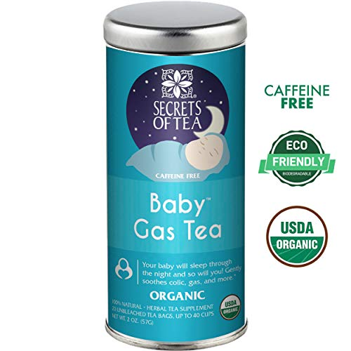 Secrets of Tea - Baby Gas Tea - USDA Organic & FDA Certified All Natural & Sanitized Herbal Tea - Helps Relieve Bloating, Indigestion, Gas, and Promotes Better Sleep - 20 Biodegradable Tea Bags