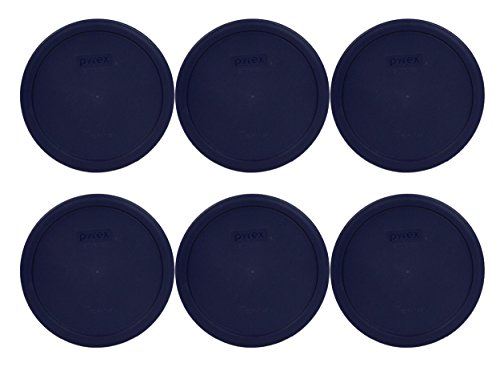 Pyrex Blue Round Storage Lid Cover fits 6 & 7 cup Round Dishes 6 Pack # 7402-PC