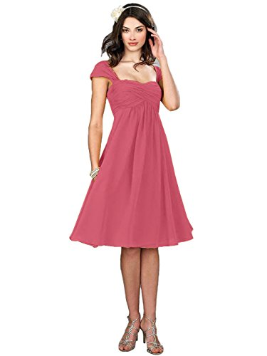 VaniaDress Women Chiffon Tea Length Bridesmaid Dress Party Gowns V274LF Blush US16 from VaniaDress