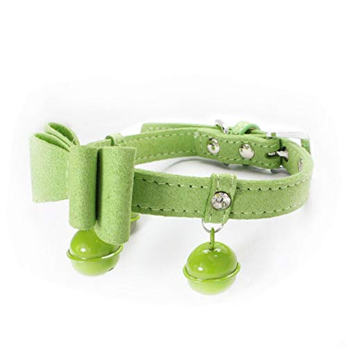 Green,M 1.5×37CM Pet Online Pet Collar Rhinestone Butterfly Bell Decoration Retractable cat and Dog Collar,Green,M 1.5×37CM