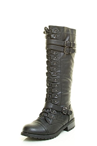 Wild Diva Womens Round Toe Lace Up Stud Mid Calf Military Combat Riding Boot