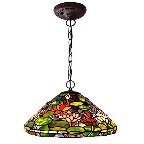 XNCH Tiffany Style Pendant Lamp, 16-inch Water Lily Design Glass Art Chandelier, Living Room Bedroom Decoration Pendant Lights60W X - Tiffany Lily Hanging Water