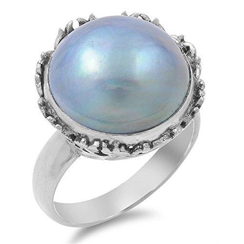 (Giant Simulated Mabe Pearl Ring 925 Sterling Silver Size 7 )