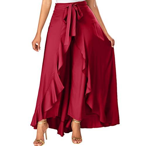 Womens Grey Side Zipper Tie Front Overlay Pants Ruffle Skirt Bow Long - 4 Overlays