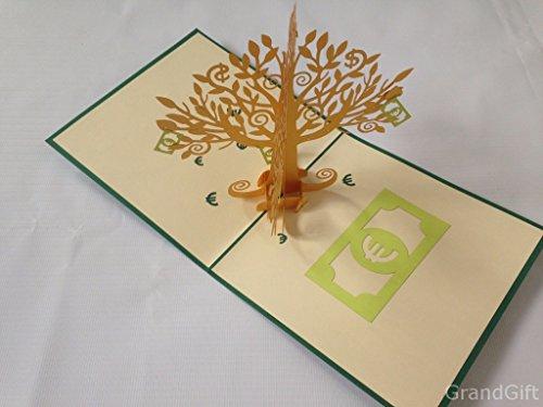 money-tree-euro-sterling-dollar-many-rose-handmade-creative-kirigami-origami-3d-pop-up-greeting-gift
