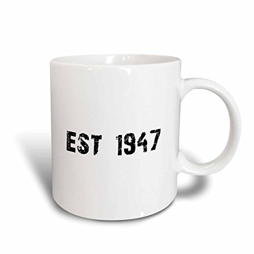 - 3dRose Grunge Est Established in 1947 forties Baby Born Child of the 1940S Personal Custom Birth Year Ceramic Mug, 15 oz, White