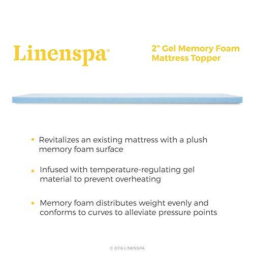 Linenspa 2 Inch Gel Infused Memory Foam Mattress Topper, Full