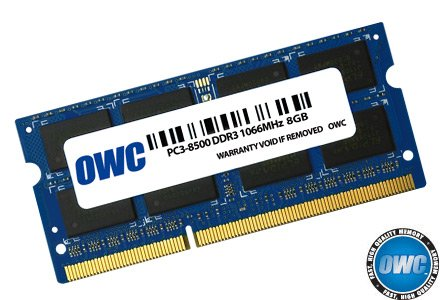 OWC 8.0GB PC8500 DDR3 Non ECC 1066 MHz 204 pin SO-DIMM Memory Module For MacBook Pro, MacBook, and Mac mini by OWC