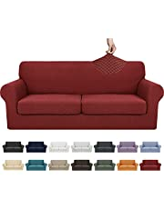 YEMYHOM Latest Checkered 4 Pieces Couch Covers for 3 Cushion Couch High Stretch Thickened Sofa Cover for Dogs Pets Anti Slip Elastic Slipcovers Living Room Furniture Protector