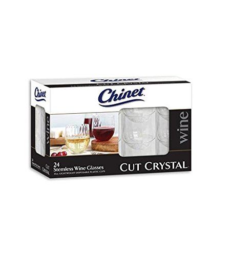 Wine Glasses – Chinet Plastic – Stemless – Cut Crystal – 2 Sets of 24, 48 Total. Great for Picnics, Camping, Birthdays, Cabernet, Ports, Reds & (Painted Swirl Cabinet)