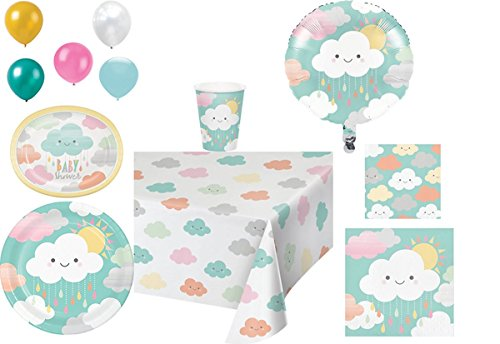 Price comparison product image Disposable Plates / Napkins / Cups / Tablecloth / Balloons Sunshine Baby Shower Themed Party Pack,  8 Piece Bundle