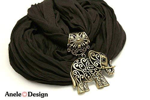 Écharpe bijoux Éléphant - cadeau Noël - noir bronze
