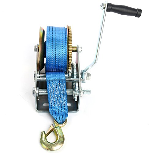 8milelake 2500lbs Hand Winch Hand Crank 2 Gear Strap Gear Winch Polyester Strap ATV Boat Trailer Heavy Duty (2500LBS) by 8MILELAKE (Image #2)