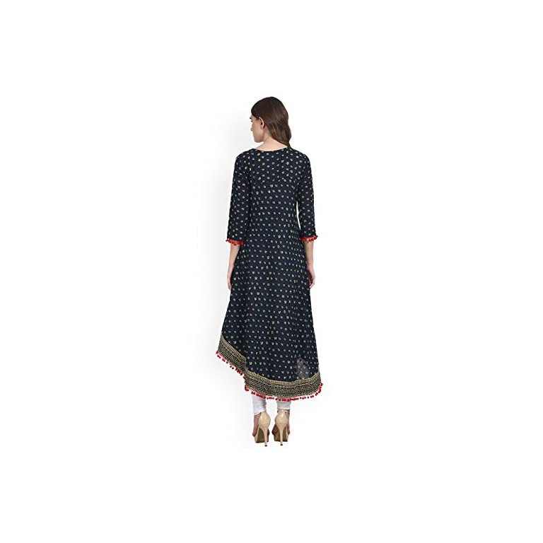 417S56CXA7L. SS768  - Amayra Women's Cotton Anarkali Kurti (Blue)