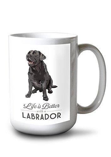 Black Labrador Retriever - Life is Better (15oz White Ceramic ()