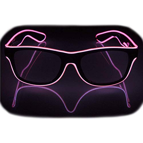 Glow Eye Glasses masks LED Light Up Glasses El Wire Glowing Party Rave Glasses For Halloween Luminous Night Costume Parties (Pink)
