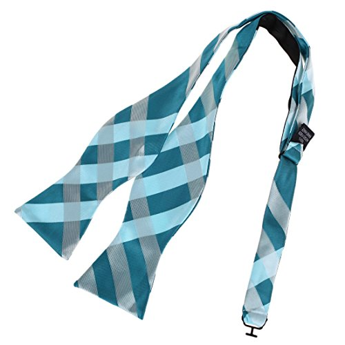 DBA7C10A Blue Play Designer Checkered Self-tied Bowtie Microfiber Certificate Woven Poly Self Bowtie By Dan ()
