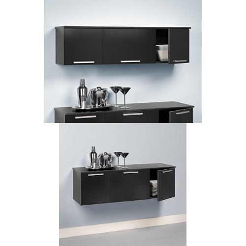 Prepac Coal Harbour Wall Mounted Hutch and Buffet - Black