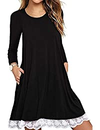 Women's Summer Fall Short Sleeve/Long Sleeve Lace Hem T-Shirt Loose Dress with Pockets