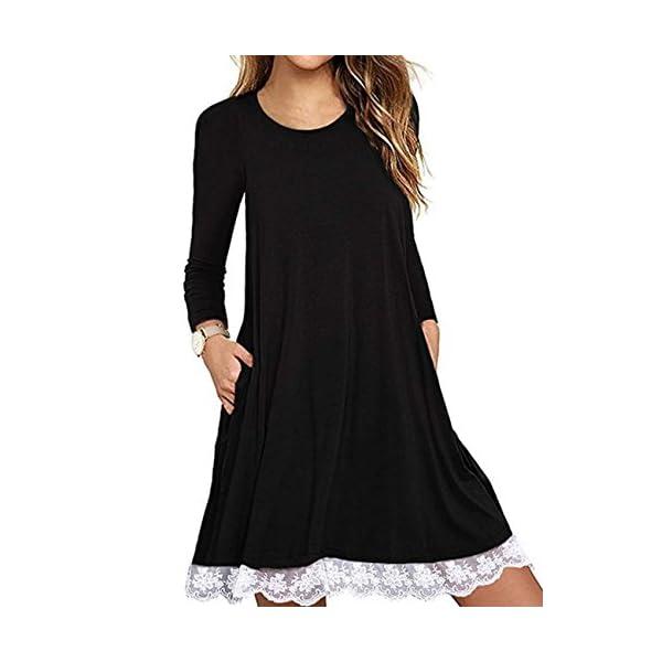 Halife Women's Summer Fall Short Sleeve/Long Sleeve Lace Hem T-Shirt Loose...