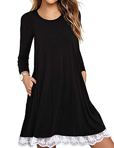 Halife Women's Casual Plain Long Sleeve Simple Tee Shirt Dress Loose Pockets Dress,01-black,Small