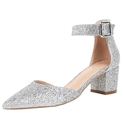 (FISACE Womens Low Mid Square Heel Ankle Strap Sandal Office Ladies Pointed Toe Pumps Shoe (Silver, 7 M US))