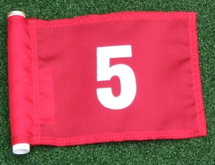 White Numbered #5 printed on a solid Red Jr. (8'' L x 6'' H) 400 Denier Pin Marker Flag For Golf & Putting Green Applications