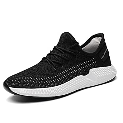 Kvovzo Mens Walking Athletic Shoes Comfort Casual Sneaker Trail Running Shoe for Men Tennis Baseball Racquetball Cycling Black Size: 6