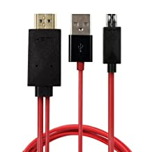 Importer520 6.5 Feet MHL Micro USB to Hdmi 1080p Hdtv Adapter Cable for Samsung Galaxy S3 S4 S5 i9600 Note 2 Note 3 and Samsung 11 Pin Mhl-enabled Devices