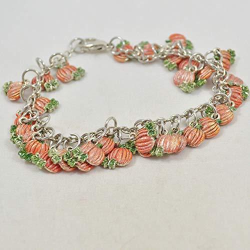 Hand-Painted Pumpkin Charm Bracelet