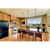 Luxury Classic con marco de madera con sillas, de cocina de isla y DE (