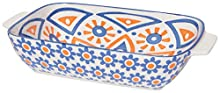 Now Designs 5092019aa Stamped Porcelain Baking Dish, 6 x 9 Inch/1 Quart Capacity, Citrine Design