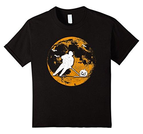 Kids Hockey Player Pumpkin And Moon Halloween T-Shirt 4 (Girl Hockey Player Halloween)