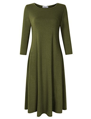 MISSKY Women's Scoop Neck 3/4 Long Sleeve Midi Dress Loose Swing Casual Dress with Pockets (XS, Army Green) (Scoop Sleeve Neck Long Dress)