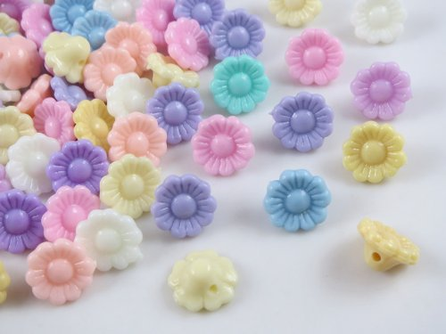120 Pcs New Mushroom Plastic the Flowers the Button/sewing Lots Mix