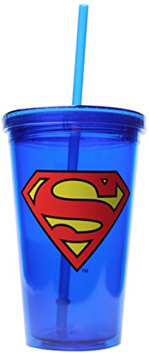 DC Comics SP02087 Superman Logo with Lid and Straw Plastic Cold Cup, 16 oz, Multicolor