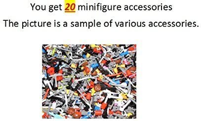 LEGO ~ 20 (Twenty) ~ Minifigure Accessories ~ Random ~ guns knives swords flags backpack crossbow weapon utensil shield book laptop cup chalis cup map arrow machine gun ~ random assortment random assortment