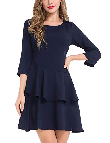 AUQCO Women Ruffle Hem Aline Mini Skater Fit and Flare Dress 3/4 Sleeve