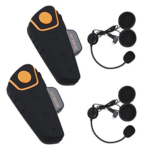 Bobov BT-S2 1000M BT casco de la motocicleta Auricular Bluetooth Intercom Moto Headset Intercom Interphone FM (Pack 2))