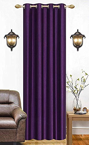 DIVERGE FURNISHINGS Polyester Plain Crush Eyelet Curtain 1 pc for Bedroom, Living Room, Hall, Kitchen - Windows (Purple, 5 Feet)