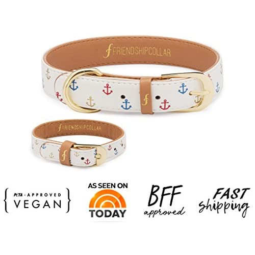 FriendshipCollar Dog Collar and Matching Bracelet Set - Tails and Sails - Vegan Leather - 8 Sizes Available delicate